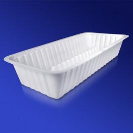 Лоток пластиковый 20,5х9,5х3,5см 650мл белый PS без крышки