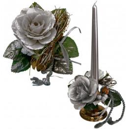 Букет на свечу d3см внутр Новогодняя роза серебристая