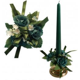 Букет на свечу d3см внутр Цветы зеленые с бусинами