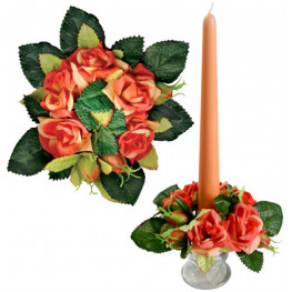 Букет на свечу d3см внутр Розы абрикосовые
