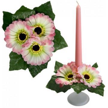 Букет на свечу d3см внутр Герберы розовые