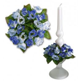 Букет на свечу d3см внутр Цветы сине-голубые
