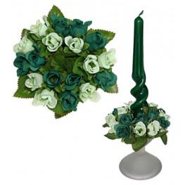 Букет на свечу d3см внутр Цветы бело-зеленые