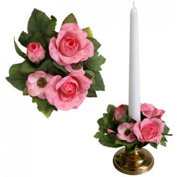 Букет на свечу d3см внутр Роза садовая розовая