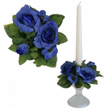 Букет на свечу d3см внутр Роза садовая синяя