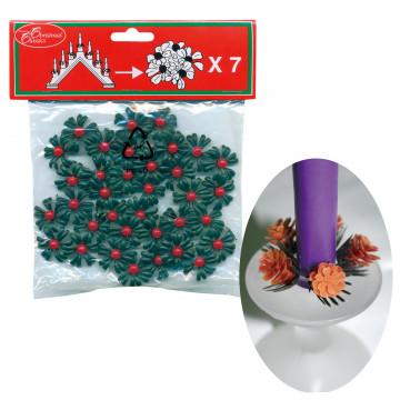 Венок на свечу d22мм внутр Красная ягода 7шт/уп