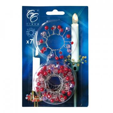 Венок на свечу d22мм внутр Рубиновые бусы 7шт/уп