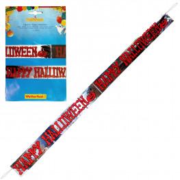 Гирлянда фольгированная 1,8м х12,5см баннер Happy Halloween 1шт/уп Kg