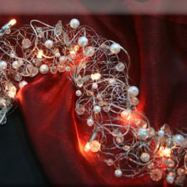 Гирлянда 1х0,05м теплобелая Жемчуг и Бриллианты прозрачно-белые кабель прозрачный 2м с выключателем indoor