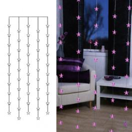Гирлянда занавес 0,9х2м розовая Звезды кабель прозрачный 3м 50диодов LED indoor