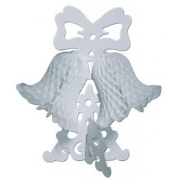 Декорация Колокольчики с бантом белые 26см