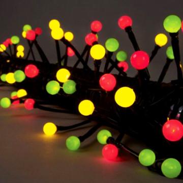 Гирлянда 7,9м желто-зелено-красная Жемчуга кабель черный 10м 80диодов LED outdoor