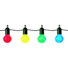 Гирлянда цепочка 5,7м разноцветная кабель черный 5м с крючками 20ламп LED цоколь Е27 outdoor