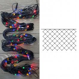 Гирлянда сетка 2x1м разноцветная кабель черный 10м 96диодов LED outdoor