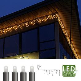 Гирлянда дождь 4х0,4м холоднобелая кабель черный 10м 144диода LED outdoor