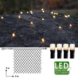 Гирлянда сетка 3х3м теплобелая кабель черный 10м 192диода LED outdoor