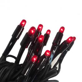 Гирлянда цепочка 5м красная кабель черный 1,8м стартовая 50ламп EXPO outdoor