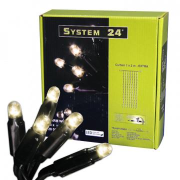 Гирлянда дождь 3х0,4м теплобелая кабель черный 1,5+3,5м стартовая 49диодов LED System 24 outdoor