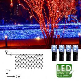 Гирлянда сетка 2х1м голубая кабель черный 10м 90диодов LED outdoor