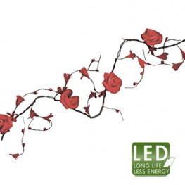 Гирлянда 2,25м красная Роза кабель черный 3м 16диодов LED indoor