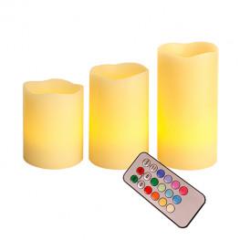 Свеча светильник LED 3 свечи с пультом меняющ цв таймером