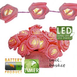 Декорация светодиод Корзина розовых роз 15диодов