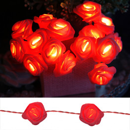 Декорация LED Корзина алых роз 2,10м кабель красный 0,5м на батарейках 3хАА LED 6/18ч таймер indoor