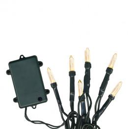 Гирлянда 7,6м теплобелая кабель черный таймер батарейки 96диодов 8функций LED outdoor