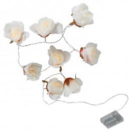 Гирлянда 1,75м теплобелая Розы кабель прозрачный 0,5м батарейки АА таймер 8диодов LED indoor
