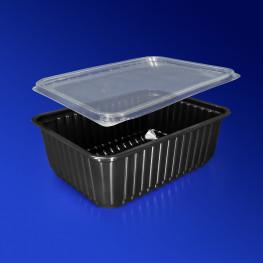 Контейнер пластиковый 1000мл PP черный с крышкой 18х13х6,5см