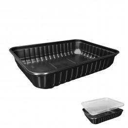 Контейнер пластиковый 500мл PP черный 18х13х3,5см 50 шт/уп