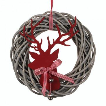 Венок d50см декорация из прутьев с головой оленя