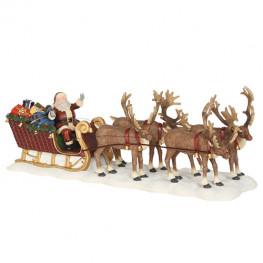 Декор Санта с подарками на санях в оленьей упряжке 21х6,5х8см