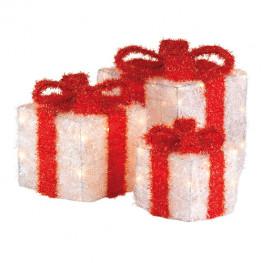 Декорация Подарки теплобелая красный бант 15х15х20/20х20х25/25х25х30см 3 батарейки АА таймер 15/20/30диодов LED indoor