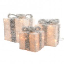 Декорация Подарки теплобелая серебристый бант 15х15х20/20х20х25/25х25х30см 3 батарейки АА таймер 15/20/30диодов LED indoor