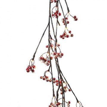 Гирлянда 1,5м Ветка рябины с красными ягодами и снегом кабель зеленый 5м 48диодов LED indoor