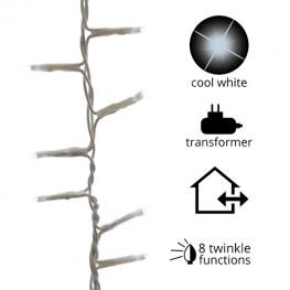 Гирлянда цепочка 16м холоднобелая мигающая кабель белый 3м 8функций 750диодов LED MICRO outdoor