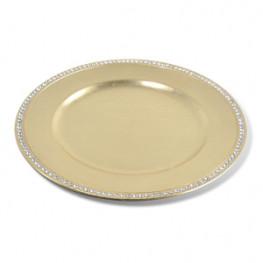 Тарелка декоративная пластик d33см золотистая со стразами толщина 3мм