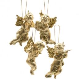 Декор Ангелочки в ассортименте 4 золотые фигурки 10см