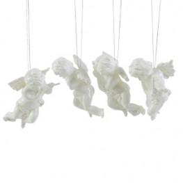 Декор Ангелочки в ассортименте белые пластиковые 10см