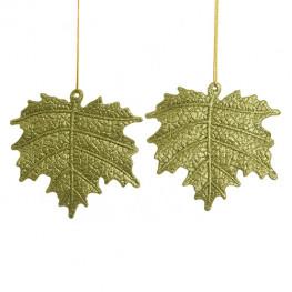 Декор Лист оливковый с блеском 10,5см 2шт/уп