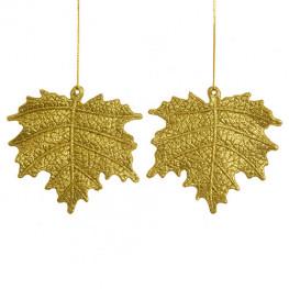 Декор Лист золотой с блеском 10,5см 2шт/уп