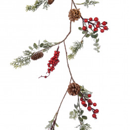 Гирлянда декоративная ветка 1,25м с красными ягодами листьями и шишками PE