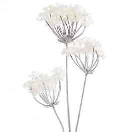 Декор Орхидея/Соцветие Зонтик на стебле белый заснеженный 78см