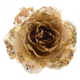 Декор Роза золотая с блеском d14см