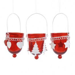 Подсвечник подвесной стекло/металл красный d6,5x20см