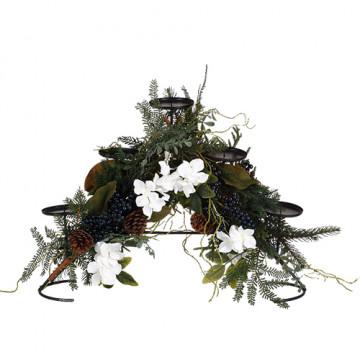 Подсвечник декоративный с белыми цветами и ягодами 56x30cм