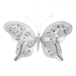 Декор Бабочка бархатная 20x15см белая с искусственным жемчугом Ka