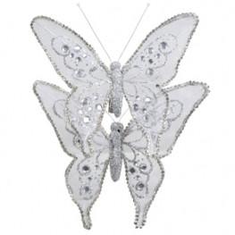 Декор Бабочка из органзы 15х12см серебристая со стразами 2шт/уп Ka