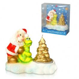 Свеча новогодняя змея с дед Морозом на подсвечнике